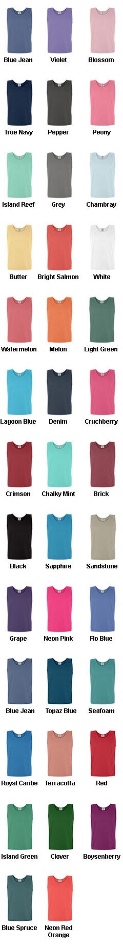 Adult Pigment Dyed Comfort Colors Tank Top - All Colors