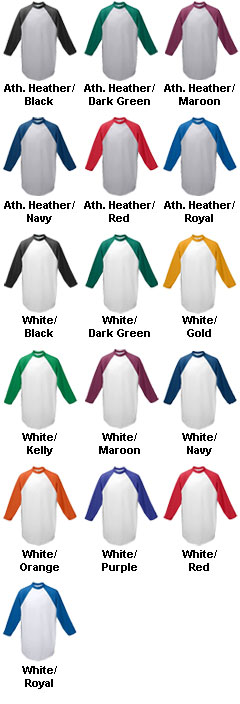 Adult 3/4 Sleeved 50/50 Raglan Sleeve Shirt - All Colors