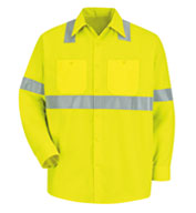 Red Kap Long-Sleeve Hi-Vis Shirt with Reflective Striping.