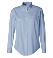 Custom Van Heusen Ladies Long Sleeve Wrinkle-Resistant Blended Pinpoint Oxford