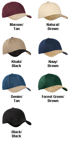 2-Tone Brushed Twill Cap with Suede Visor, Button and Closure - All Colors