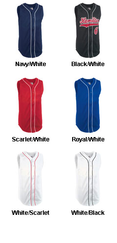 Youth Sleeveless Pro Weight 6-Button Baseball Jersey - All Colors
