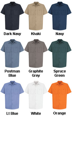 Mens 100% Cotton Short Sleeve Uniform Shirt - All Colors