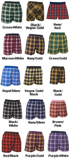 Adult Exposed Elastic Waistband Flannel Boxers - All Colors