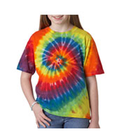 Custom Youth Rainbow Swirl Tie Dye T-shirt