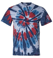 Tie-Dyed Multi-Color Cut-Spiral Short Sleeve T-shirt