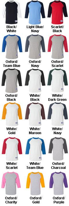 Custom Champion 100% Cotton Raglan Sleeve - All Colors