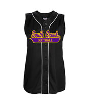 Custom Girls Tag Up Full Button Sleeveless Softball Jersey