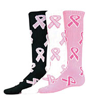 Youth Pink Ribbon Game Socks
