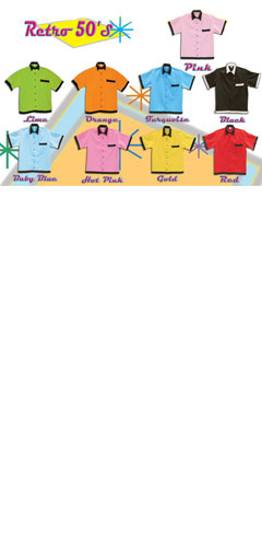 Classic Retro 50s Bowling Shirt in Childrens Sizes - All Colors