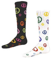 Custom Intermediate Give Peace A Chance Multi Sport, Multi Color Peace Socks