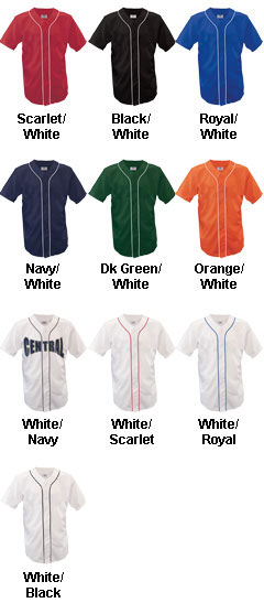 Youth Warning Track Piped Full Button Jersey - All Colors
