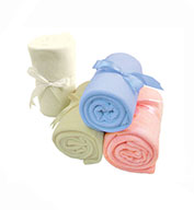 Fleece Baby Blanket with Ribbon Tie