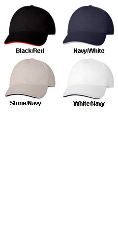 Bayside Structured Twill Cap Sandwich Cap - All Colors