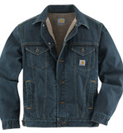 Custom Carhartt Mens Denim Jean Jacket/Sherpa Lined
