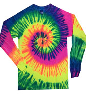 Adult Tie Dye Multi Color Long Sleeve Tshirt