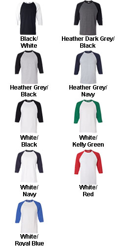 Adult Cotton 3/4 Sleeve Baseball Tee - All Colors