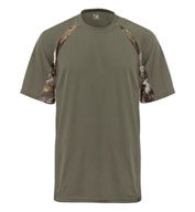 Custom Adult Hook Tee with Camo Color Blocking Mens