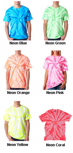 Gildan Adult Tie-Dye Neon One-Color Pinwheel Tee  - All Colors
