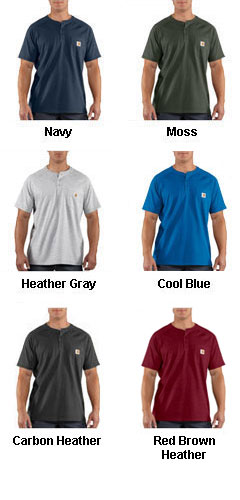 Force™ Cotton Short Sleeve Henley T-shirt by Carhartt - All Colors