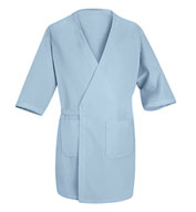Collarless Butcher Wrap with 3/4 Sleeves