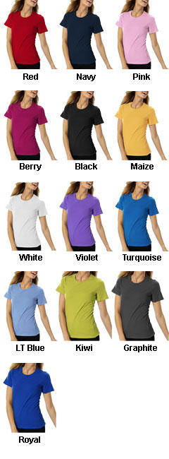 Ladies Short Sleeve Jewel Neck Tee - All Colors