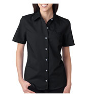 Custom Dickies Ladies Short-Sleeve Stretch Poplin Shirt