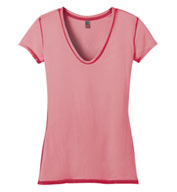 Juniors Faded Rounded Deep V-Neck Tee by District