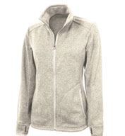 Custom Ladies Heathered Fleect Sweater Jacket by Charles River Apparel