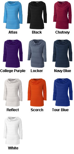 Ladies Three Quarter Sleeve Highland Cowl  - All Colors