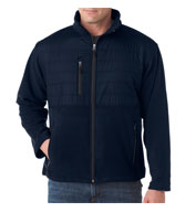 Custom UltraClub Mens Quilted Fleece Jacket