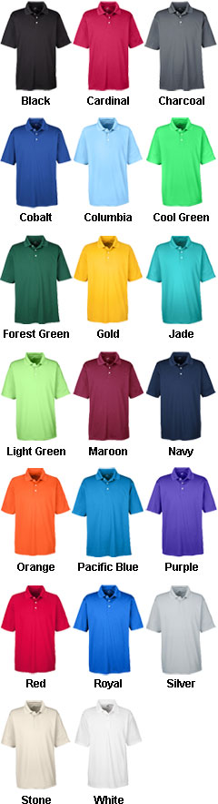 Custom UltraClub Mens Cool and Dry Stain Release Polo Shirt - All Colors
