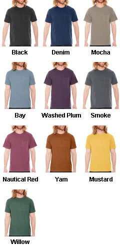 Pigment Dyed Mens Pocket T-Shirt - All Colors