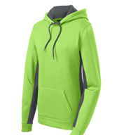 Ladies Fleece Color Block Hooded Pullover