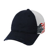 Custom Frayed Visor American Flag Mesh Back Cap