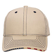 Custom Contrast Stitch Cap with American Flag Sandwich