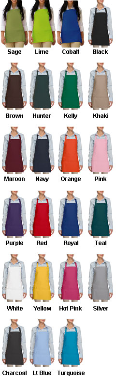 USA Made Three Pocket  Bib Apron - All Colors