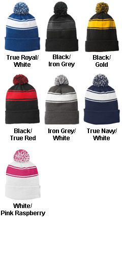Sport-Tek® Stripe Pom Pom Beanie - All Colors