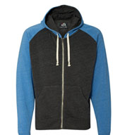 J. America Tri-Blend Color Block Full-Zip Hooded Fleece
