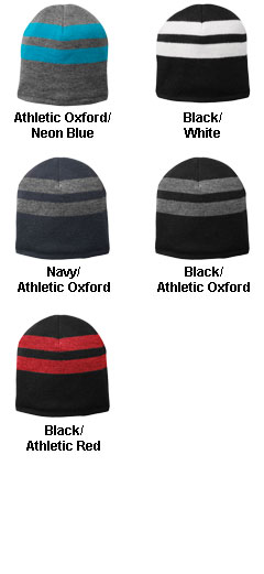 Fleece-Lined Striped Beanie Cap - All Colors