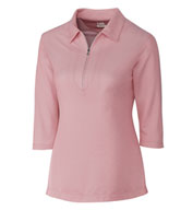 Ladies Blaine Oxford 3/4 Sleeve Zip Polo