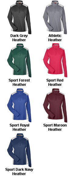 Ladies Excel Melange Interlock  Performance Quarter-Zip Top - All Colors