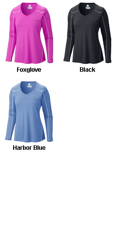 Ladies Columbia Zero Rules Long Sleeve V-Neck Tee - All Colors