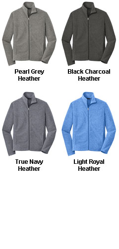 Mens  Heather Microfleece Full Zip Jacket - All Colors