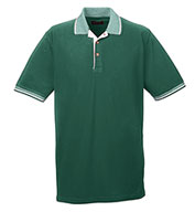 Custom UltraClub Colored Polo Shirt w/ Multi-Striped Trim Mens