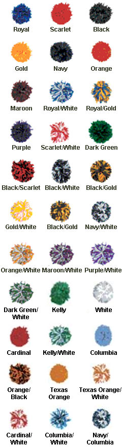 Cheer Pom Poms in School Colors - All Colors
